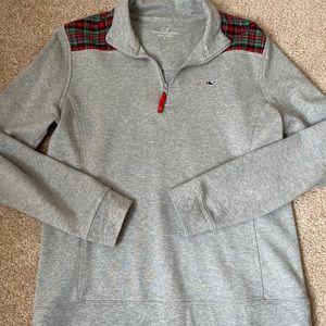Vineyard Vines Small Red Plaid Sweater Quarter Zip